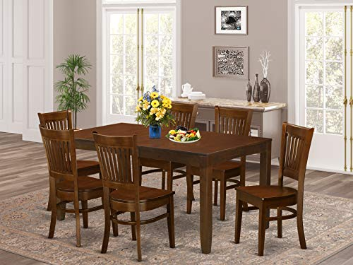 """7 Pc Table with a 12"""" Leaf and 6 Wood Chairs in Espresso ."""