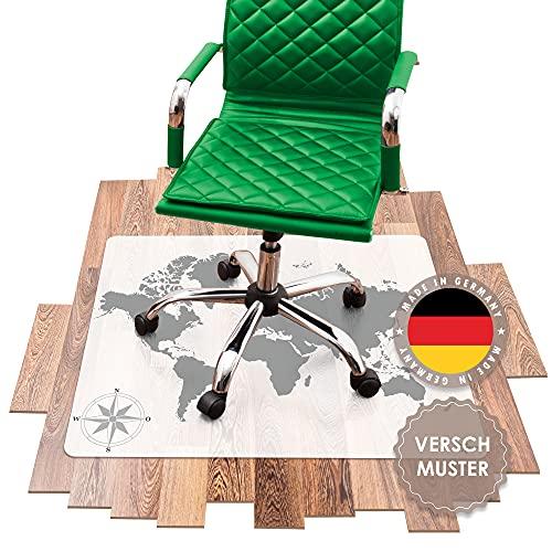 SCHMIEDWERK Bürostuhl Unterlage versch. Muster - Bodenschutzmatte für Schreibtischstuhl rutschfest mit Druck | Made in Germany (Weltkarte, 100x120cm)