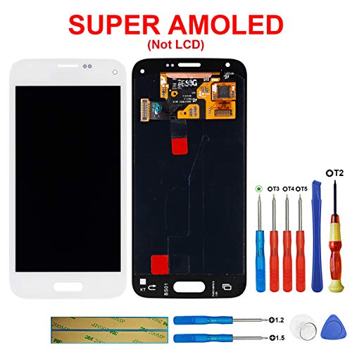 SWARK Super AMOLED-scherm compatibel met Samsung Galaxy S5 Mini SM-G800F (wit zonder frame) LCD-scherm touchscreen screen beeldscherm digitizer Assembly glas + tools