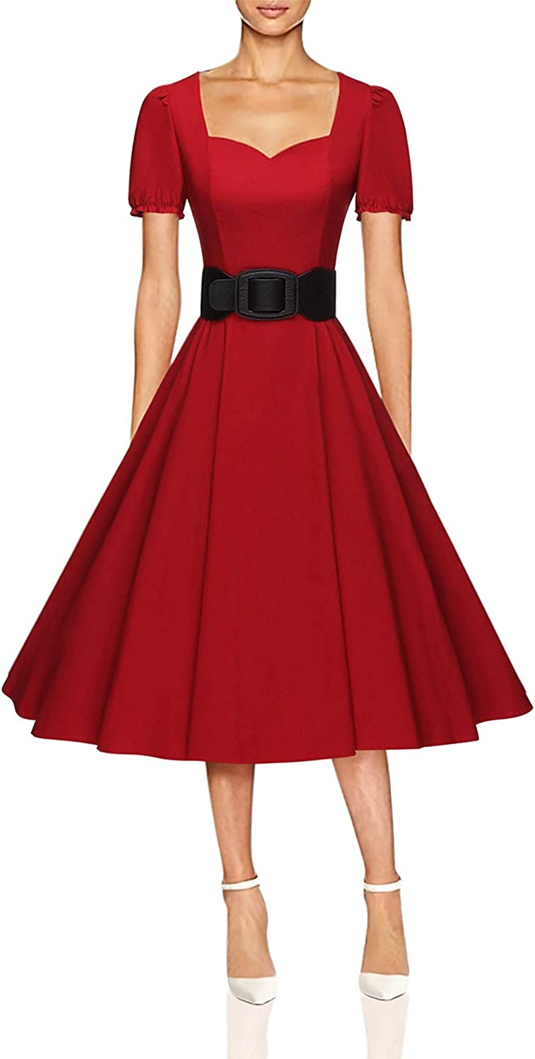 GownTown Womens 1950s Ruffle Fit Ranking TOP9 Sleeve Dress 100% quality warranty Flare