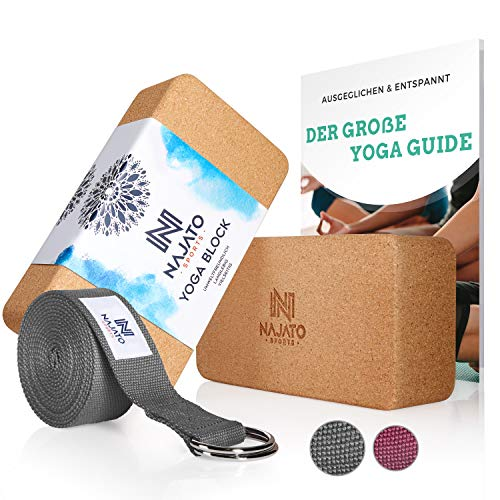 NAJATO Sports Yoga Block Kork 2er Set – Mit Yoga Gurt & E-Book – Yogaklotz für Yoga und Pilates – Yogablock aus...