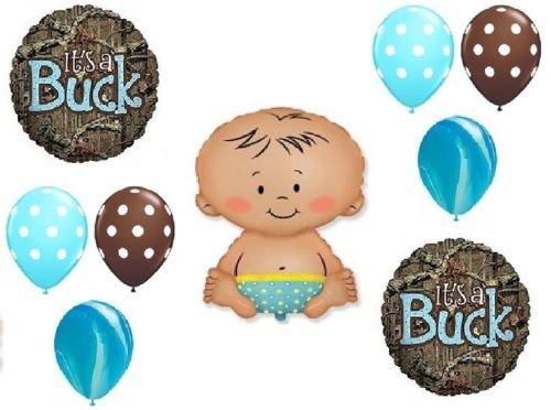 LoonBalloon MOSSY OAK It's a Buck Blue BOY Baby Shower Camouflage 9 Mylar & Latex Balloons