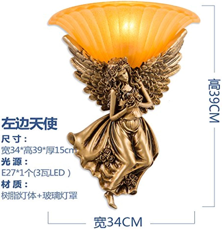 StiefelU LED Engel Wandleuchte Schlafzimmer Nachttischlampe Treppenhaus Straenbau Hintergrund Wandleuchten, Engel links (Gold) + 3 Watt-LED