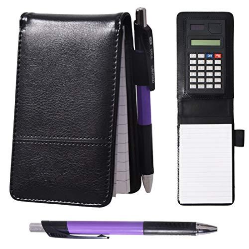 KXF - Taccuino tascabile in pelle, formato A7, con penna e calcolatrice, 60 pagine, sostituibile, a righe, per appunti e lista della spesa Nero