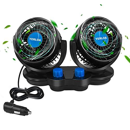 Yerloa Auto Ventilator 12V,Auto Kfz Lüfter Auto-Kühlluftventilator mit Zigarettenanzünder und 2 Geschwindigkeit,Doppelschalter 360 °Grad-Drehung Einstellbar Ventilator für Wohnmobil SUV Van Truck RV