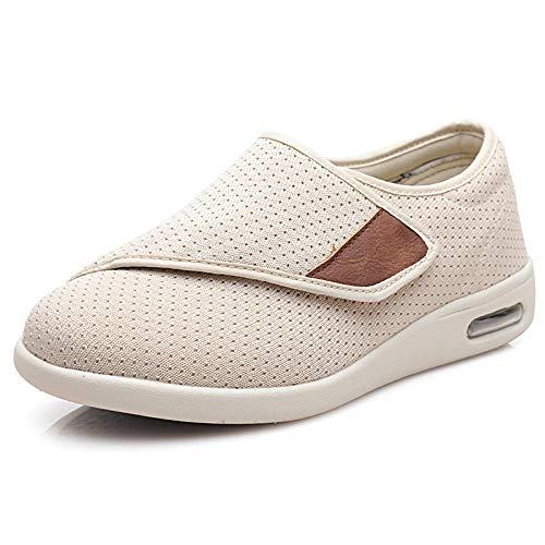 LLGG Zapatilla DiabéTica Sin Cordones para Mujer,Zapatos hinchados del pie de Las Personas Mayores, Zapatos de Madre Post Magic-Beige_45