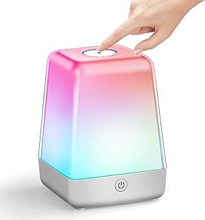 Lifeholder ナイトライト ベッドサイドランプ タッチ式 調光 白光&七色切替 USB充電 フック付き 1800mAh充電池 70h連続作動 コードレス サイドテーブルランプ ルームライト テーブルランプ 常夜灯/間接照明/授乳用