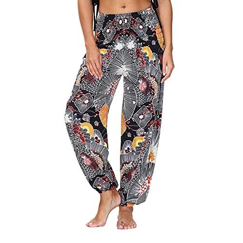 Pantalones de playa para mujer, estilo bohemio, largos, holgados, para verano, ligeros, informales, para la playa, estilo bohemio, corte holgado, pantalones de tela, 10-negro, XXL