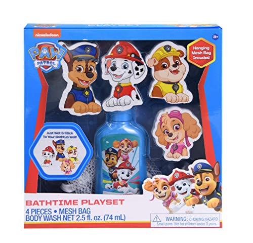 Paw Patrol Bathtime Playset Combo Pack, 2.5oz Kids Body Wash with Foam Decals of Chase, Marshall, Rubble, & Skye Cartoon Characters Set & Hanging Mesh Bag, Kids Shower Gel Kit Toys for Fun Bath Time