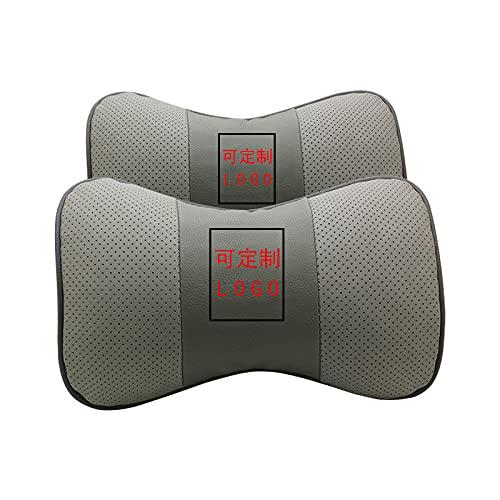 AOWIFT 1 cojín de cuero Nazhijie para reposacabezas de coche, protector de cuello de piel de vacuno (gris Luxgen, 26,5 x 16,5 x 8)