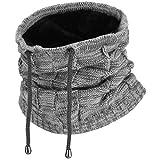VBIGER Herren Damen Schlauchschal Multifunktionstuch Strickmütze Wintermütze Loop Schal Halswärmer Doppelschicht windundurchlässig.(Grau)