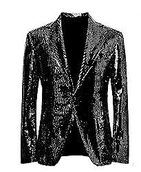 Black/C Splendid Sequins Lapel Tuxedo Jacket