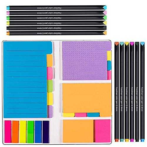 Large and Small Sticky Notes Set with Fineliner Color Pens Set- 60 Ruled Lined Notes 4x6, 48 Dotted Notes 3x4, 48 Blank Notes 4x3,48 Orange 2x2 and Pink 1.5x2, 150 Inde x Tabs