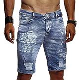 Leif Nelson Herren Männer Jungen Sommer Kurze Biker Jogger Jeans Hose Shorts Jeanshose Chinos Cargo Bermuda Basic 5-Pocket Destroyed Used Stretch Freizeithose Denim Slim Fit LN1970; W34; Dunkel Blau