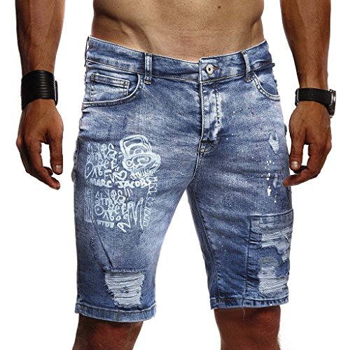 Leif Nelson Herren Männer Jungen Sommer Kurze Biker Jogger Jeans Hose Shorts Jeanshose Chinos Cargo Bermuda Basic 5-Pocket Destroyed Used Stretch Freizeithose Denim Slim Fit LN1970; W32; Dunkel Blau