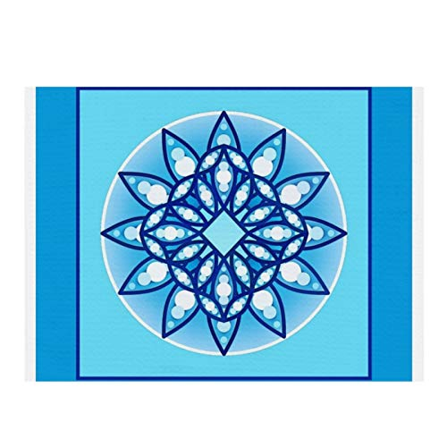 Microfiber Dish Drying Mat for Kitchen,Mandala pattern in turquoise, cobalt & white Super Absorbent Fast-Drying Dish Mat Kitchen Dish Drying Pad 15.7X11.8 inches