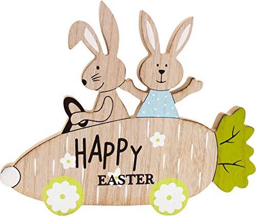 Brubaker Coppia di Coniglietti pasquali in un'auto in Legno - 16,5 x 20 cm - Figura decò per la Decorazione Pasquale - Legno Naturale - Dipinto a Mano - Verde