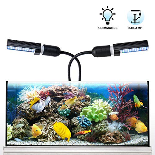 Relassy Led Aquarium Light, Led Reef Coral Light with Dual Replaceable E27 Bulb, Adjustable Clip On Seawater Aquarium Light Dimmable for Freshwater Seawater Fish Coral Aquatic Plant Growth