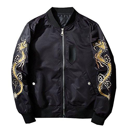 Lemosery Men's Fashion Chinese Dragon Embroidered Totem Bomber Jacket Windbreaker Moto Bomber Jacket Black