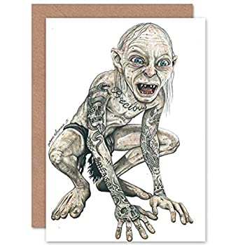 Wee Blue Coo Greetings Gollum Lord of The Rings Tattoo Inked Ikon Art - W Maguire Sealed Greeting Card Plus Envelope Blank Inside