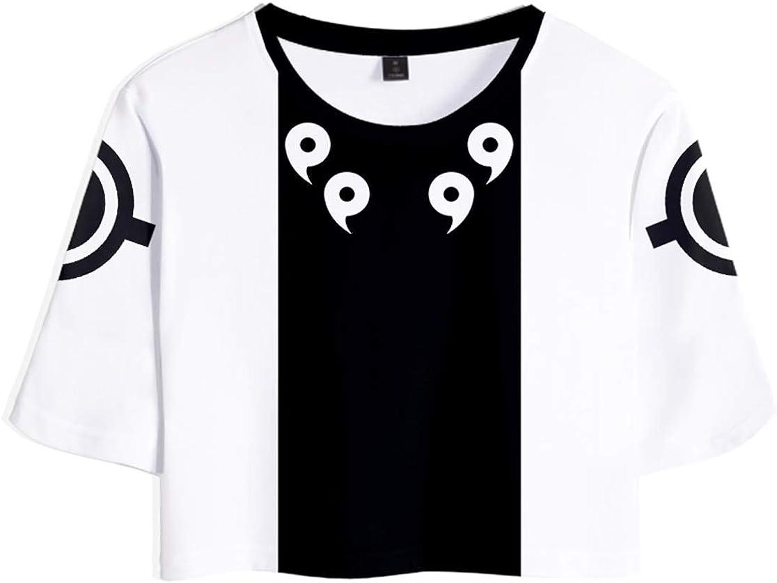 HAOSHENG Ni/ña Camiseta Naruto Japonesa Anime Mangas Cortas Camiseta y Pantalones Impreso Moda Cintura Alta