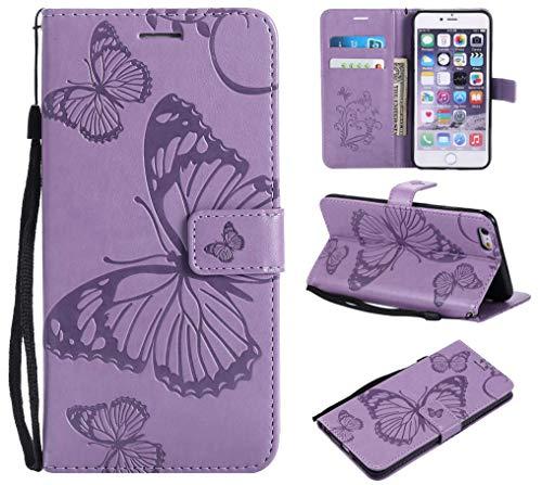 BoxTii® Coque iPhone 6 Plus/iPhone 6s Plus, Etui en Cuir de Première Qualité avec Stand pour Apple iPhone 6 Plus/iPhone 6s Plus (#3 Violet)