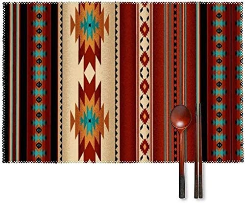 Plate Mats 4 Sets Native Tribal Indian Geometric Brown Western South Southwestern Old Canvas product image