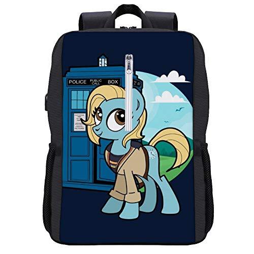 My Little Pony Doctor Who Rucksack Daypack Bookbag Laptop Schultasche mit USB-Ladeanschluss