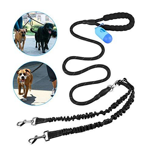 Linkstyle Hundeleine Große Hunde, Doppel-Hundeleine + Gepolstertem Griff + Einziehbarem Stoßdämpfendem Bungee, 360° Einstellbar Splitterleinen für Training und Spaziergänge 2 Mittel Große Hunden