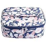 Borsa Cosmetica Beauty Case Make up,Bluehare Borsa di Trucco Borse Bagno Trucchi Cosmetici Organizzatore, astuccio portatile da viaggio per cosmetici (Fiori blu)