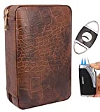 AMANCY Manly Black Brown Crocodile Pattern Leather Travel Cedar Wood Lined 4 Cigar Humidor Case, Included Cigar Cutter and Lighter