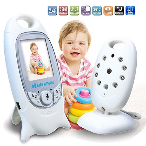 HMILYDYK Babysitter Caméra vidéo sans fil pour bébé avec écran LCD de 2 pouces Berceuse Vision nocturne Surveillance de la température 2 voies pour la sécurité des bébés
