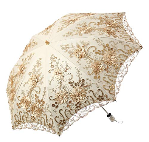 LCY Embroidered Lace Double-deck Anti-UV Parasol...