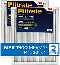 Filtrete 14x20x1, AC Furnace Air Filter, MPR 1900, Healthy Living Ultimate Allergen, 2-Pack (exact dimensions 13.81 x 19.81 x 0.78)