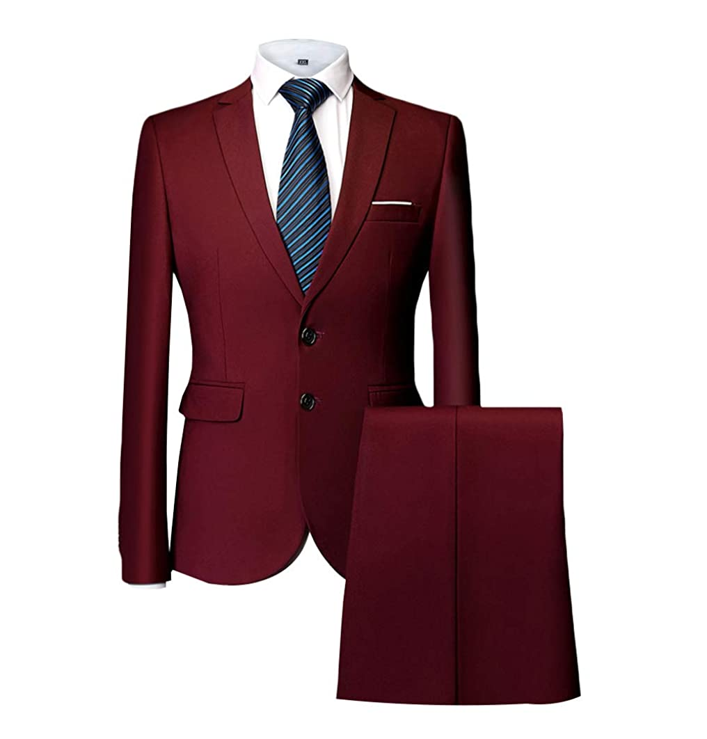 MAGE MALE Men's 2 Piece Suit Slim Fit Two Button Single Breasted Business Wedding Party Jacket & Pants