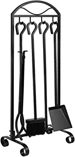 Best Amagabeli 5 Pieces Fireplace Tools Indoor Outdoor Large Wrought Iron Firewood Toolset with Decor Holder Black Fireset Pit Stand Fire Place Log Tongs Tools Kit Sets with Handles Wood Stove Accessories Review