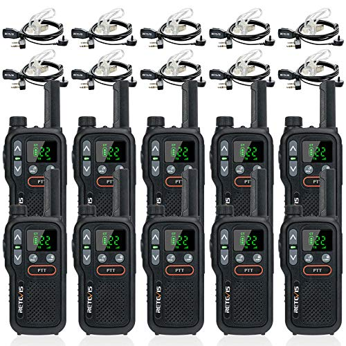 Retevis RB18 Walkie Talkies with Earpieces, Rechargeable Two Way Radios for Adults, NOAA Dual PTT Flashlight VOX, 2 Way Radio for Business Retail Hotel School(10 Pack)