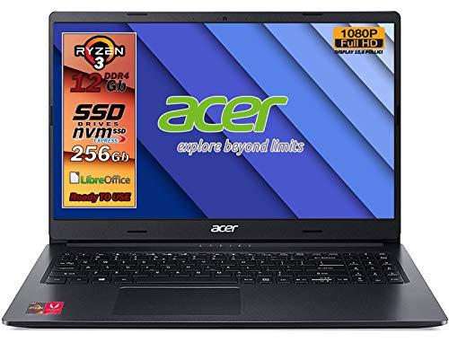 "Notebook Acer AMD RYZEN 3 3250u, fino a 3,5 GHz, ram 12 Gb, SSD 256GB M2 pci, display 15.6"" Full HD, 3 USB, Wi-Fi, hdmi, BT, lan, Win 10 pro, Libre Office, Pronto all'uso, Garanzia e layout Italia"
