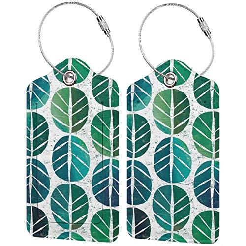 Lot de 2 étiquettes à bagages I Love Green Leaf avec sangles réglables pour voyage et affaires