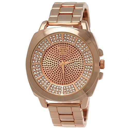 Elegante Ny London Damen-Uhr Strass Analog Quarz Armband-Uhr in Rose-Gold mit großem Ziffernblatt