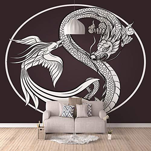 3D Fototapete Selbstklebende Wandbild Moderne Premium Kunstdruck Murals Dragon Phoenix Dekoration Poster Bild Design,100Cm(W) X70Cm(H)-2 Streifen