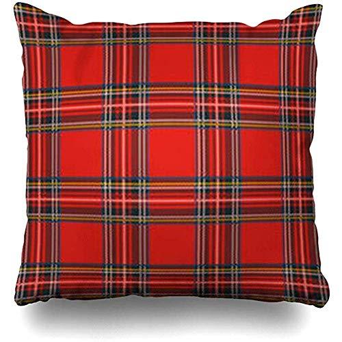 fingww Funda de cojín Escocia Rojo Falda Escocesa Tartán Patrón de Cuadros Verde Negro Escocés Navidad Resumen Plaid misceláneos Raya Sofá Cuadrado Fundas de Cojines Fundas de Almohada 45X45CM
