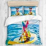 Marutuki Bedding Juego de Funda de Edredón,Perro navegando en una Tabla de Surf con una Cadena de Flores y Gafas de Sol, en la Orilla del océano,Microfibra SIN Relleno,(Cama 220x240 + Almohada)