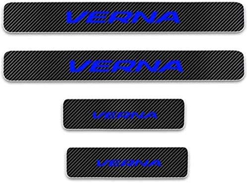 Anti-Kratz-Platte für Autoschwelle für Passend für 4 Stück Externes Carbon-Faser-Leder-Auto Kick-Platten Pedal for Hyundai Verna Einstieg Willkommen Pedal-Tritt Scuff Threshold Bar Schutz.