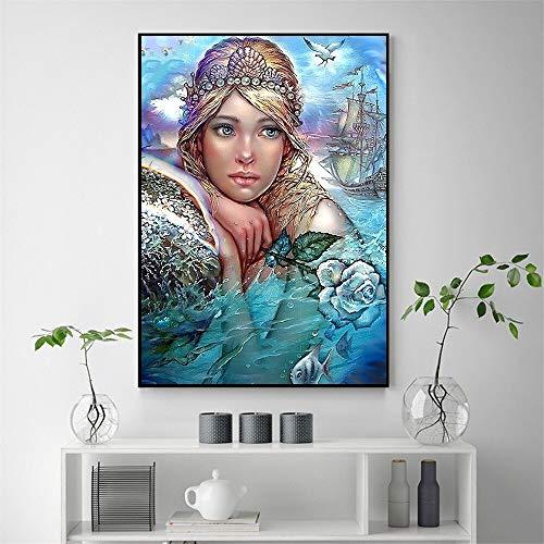 """5D DIY""""Cuento de hadas de la princesa del océano""""Pintura diamante niños adultos pintura diamante punto de cruz kit de pintura diamante decoración familiar 40X50cm Sin marco"""