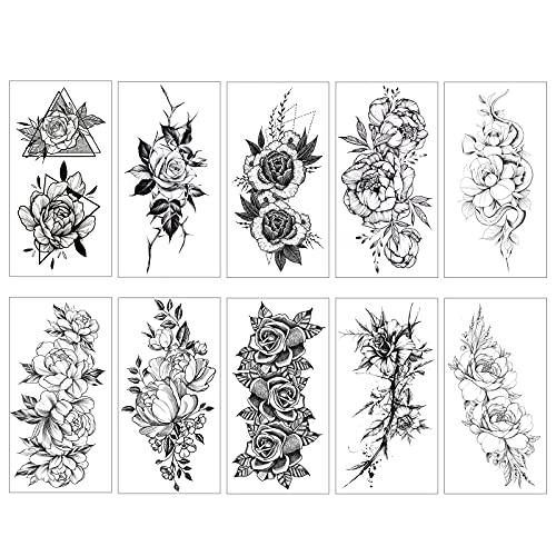 SacJkt Wasserdichte temporäre Tattoos, Rose Tatoo Aufkleber, 10 Blatt Fake Body Art Tatoo Aufkleber für Frauen und Mädchen (Schwarz, 96 x 190 mm)