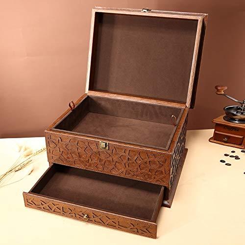 Bradoner Colección Antigua Caja, La Caja De Cuero Tallado, Antigua De Gama Alta De Almacenamiento Caja De Cuero, Joyería del Estilo De La Caja De La Vendimia (41 * 32.5cm)