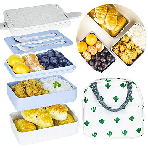 YANHU Bento Boxes, 3-In-1 Compartment Japanese Lunch Box Wheat Straw Eco-Friendly Bento Lunch Box Meal Prep Containers for Kids Adults - Leak-proof for On-the-Go Meal, BPA-Free and Food-Safe Materials