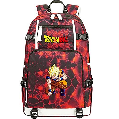 ZZGOO-LL Dragon Ball Son Goku/Vegeta IV/Torankusu Anime Laptop Backpack Bag Travel Laptop Daypacks Lightweight Bag with USB-H