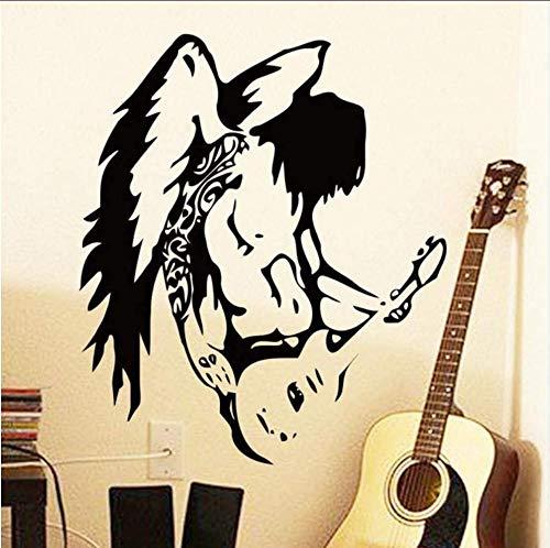 Goedkope Art Design Home Decor Vinyl Muurdecoratie Koele Engel Gitaar PVC Stickers Muziek Huis Decoratie Tattoo in Bar en Gordijnen 58 * 67Cm